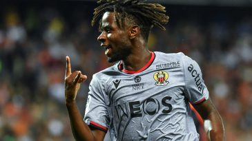 Adrien Tameze reacts after scoring against Montpellier in Ligue 1 (Getty Images)