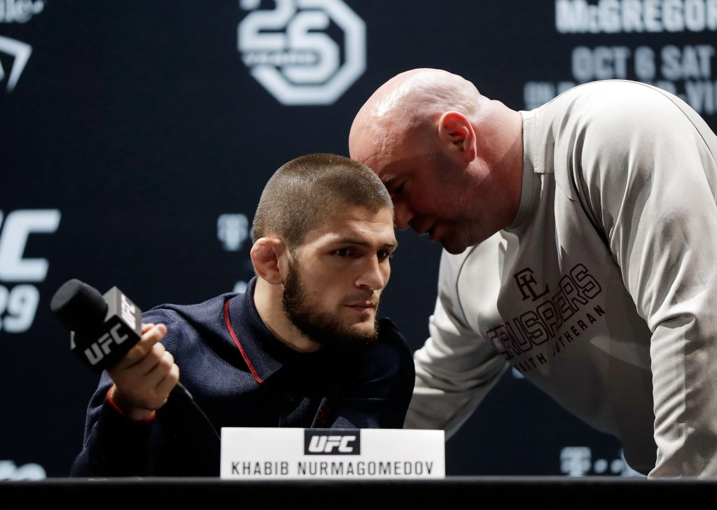 Khabib Nurmagomedov and Dana White speak during a previous press conference