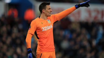 Lovre Kalinic playing for Aston Villa in the FA Cup.