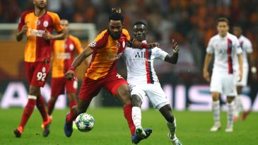 Christian Luyindama of Galatasaray battles for the ball with Idrissa Gueye of PSG during a UEFA Champions League group match at Turk Telekom Arena on October 01, 2019 in Istanbul, Turkey.