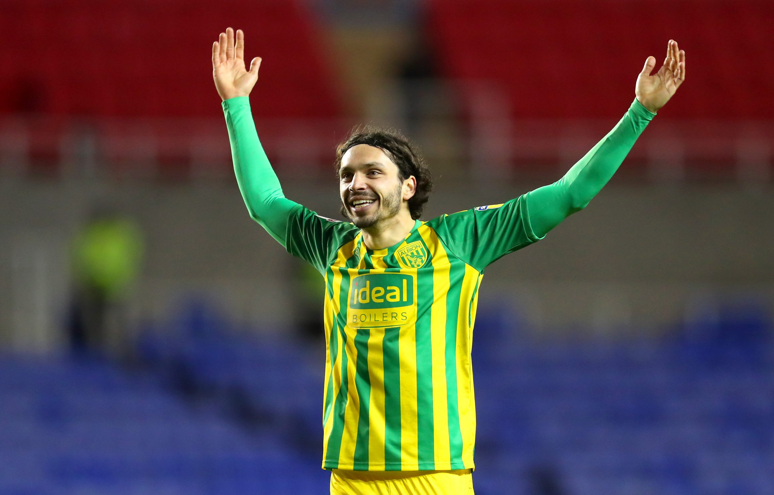 On-loan star Filip Krovinovic of West Brom celebrates after his sides victory in the league.
