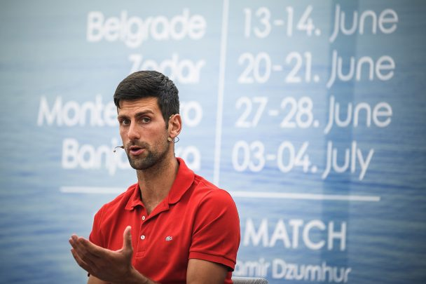 Novak Djokovic in conversation during the press conference of the upcoming Adria Tour.