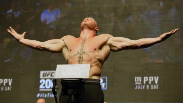 Brock Lesnar won the UFC Heavyweight title after moving to the MMA promotion