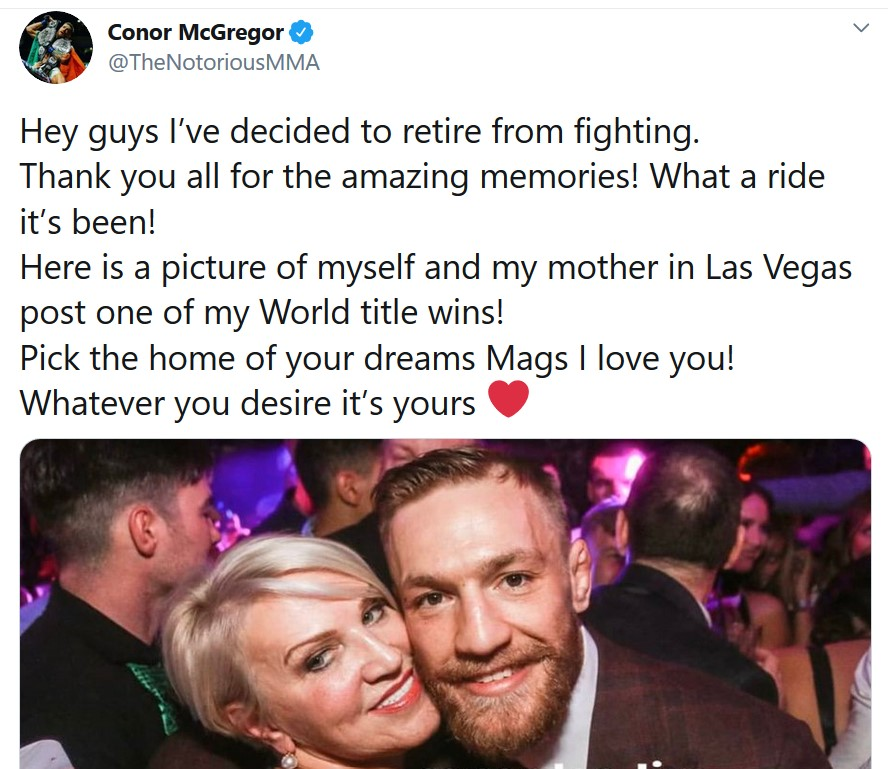 Conor McGregor shared news of his retirement on social media