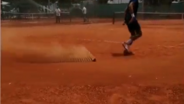 The Instagram story which went viral online showing World No.1 Novak Djokovic mopping the court in his native Serbia.