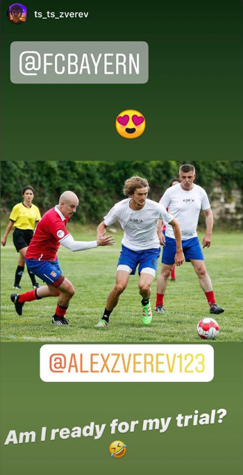 Alexander Zverev shared this story on his Instagram feed after the Adria Tour football game.