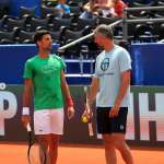 Novak Djokovic with his coach and director of Adria Tour 2020 second leg, Goran Ivanisevic, during a practice session in Zadar, Croatia.