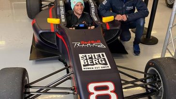 Austrian tennis star Dominic Thiem alongside former F1 driver Patrick Friesacher at the Red Bull Ring.