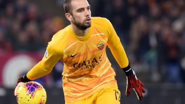 AS Roma's Spanish goalkeeper Pau Lopez passes the ball during a Serie A match against Lazio in January.