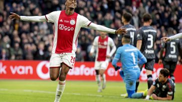 Teenage Ajax midfielder Ryan Gravenberch celebrates after scoring a goal during an Eredivisie match back in January.