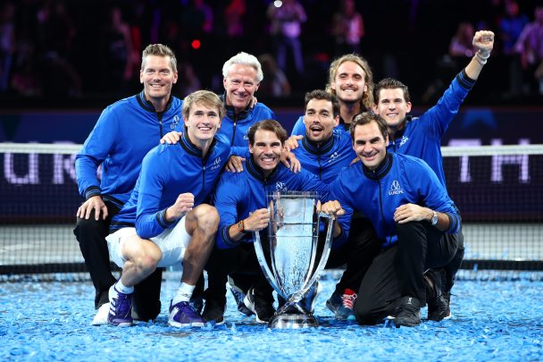 Bjorn Borg (second row, second from left), captain of Team Europe, pose with the side's players after their victory in the 2019 Laver Cup tournament.