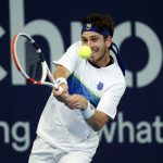 Cameron Norrie plays a backhand during his singles match against Paul Jubb on Day 4 of Battle of the Brits at the National Tennis Centre on June 26, 2020, in London, England.
