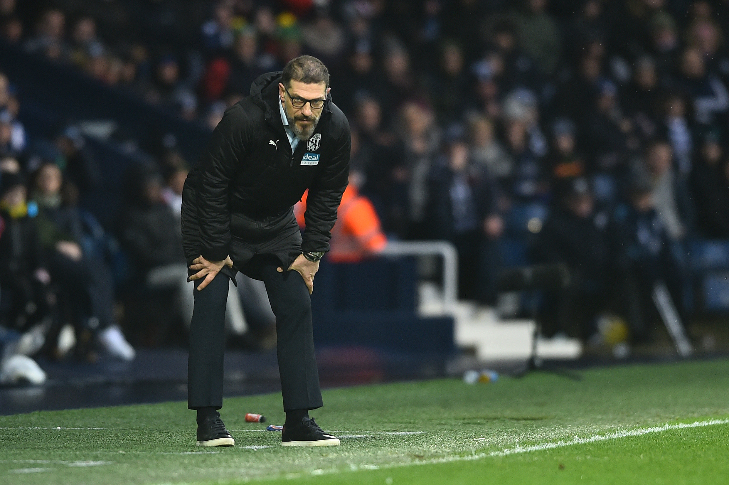West Brom manager Slaven Bilic looks on during a Championship match last February.