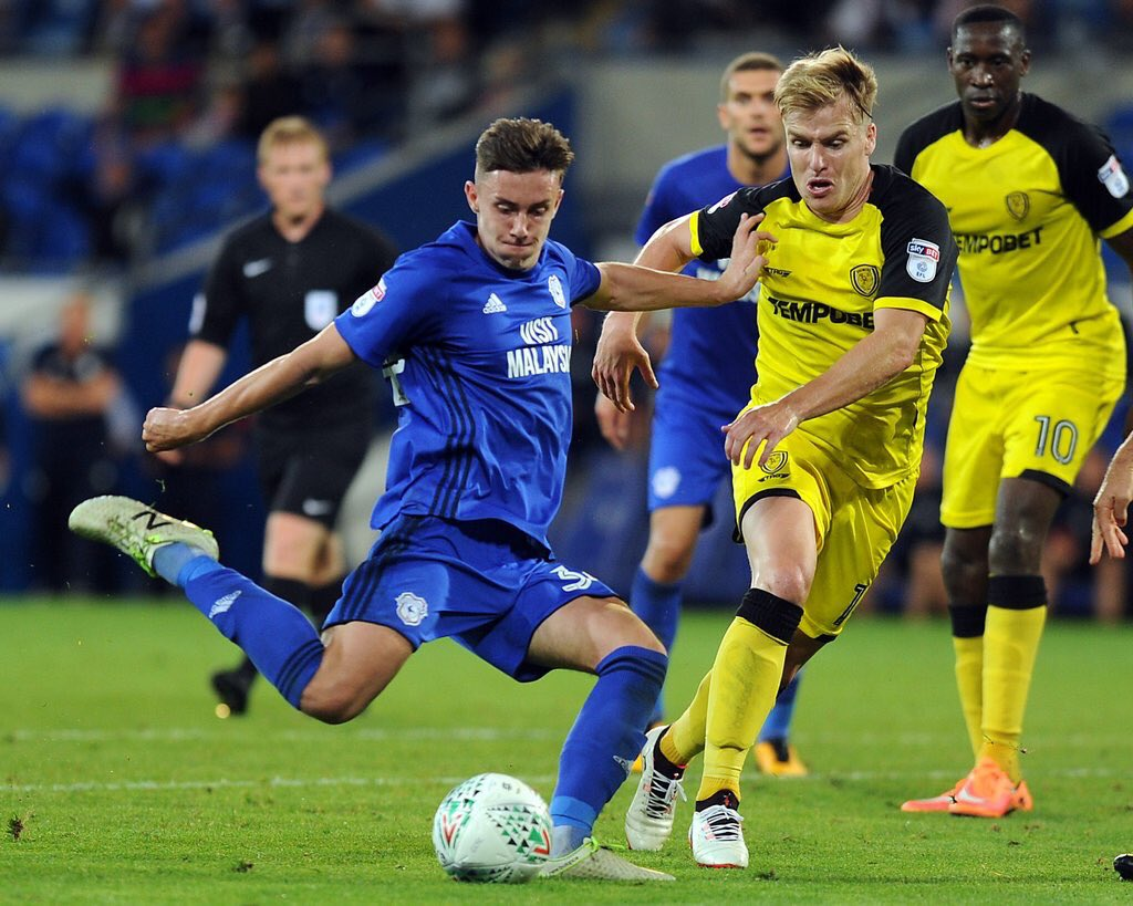 Cameron Coxe playing for former side Cardiff City.