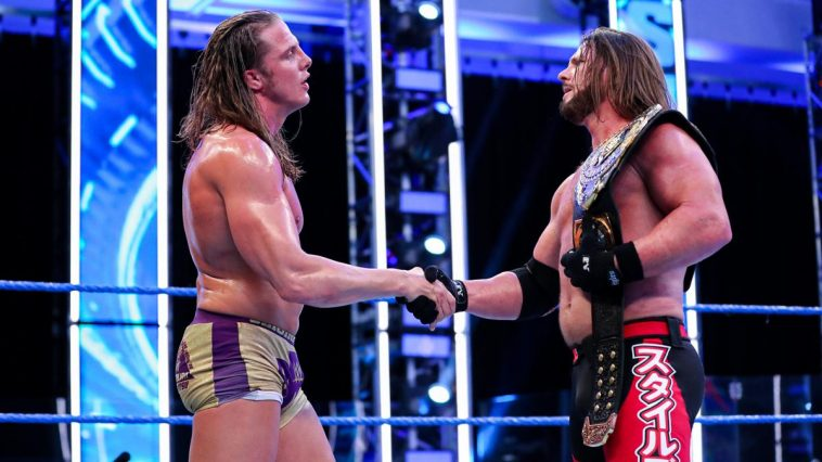 AJ Styles and Matt Riddle shake hands after their latest fight