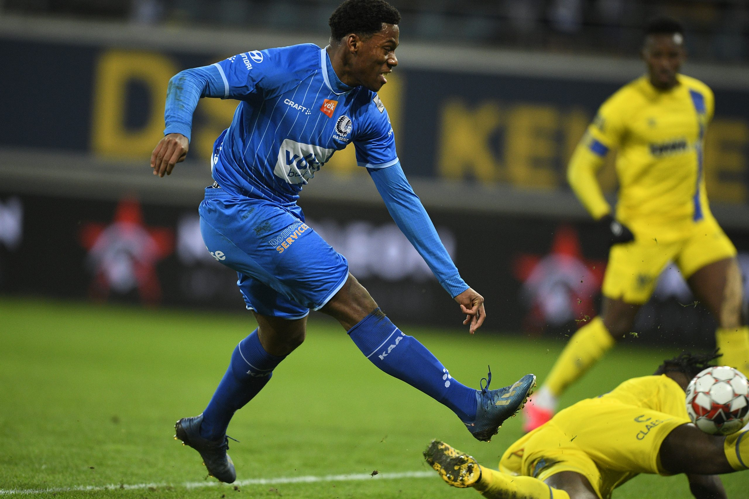 Jonathan David (L) scored a hat-trick against Sint-Truiden (Getty Images)