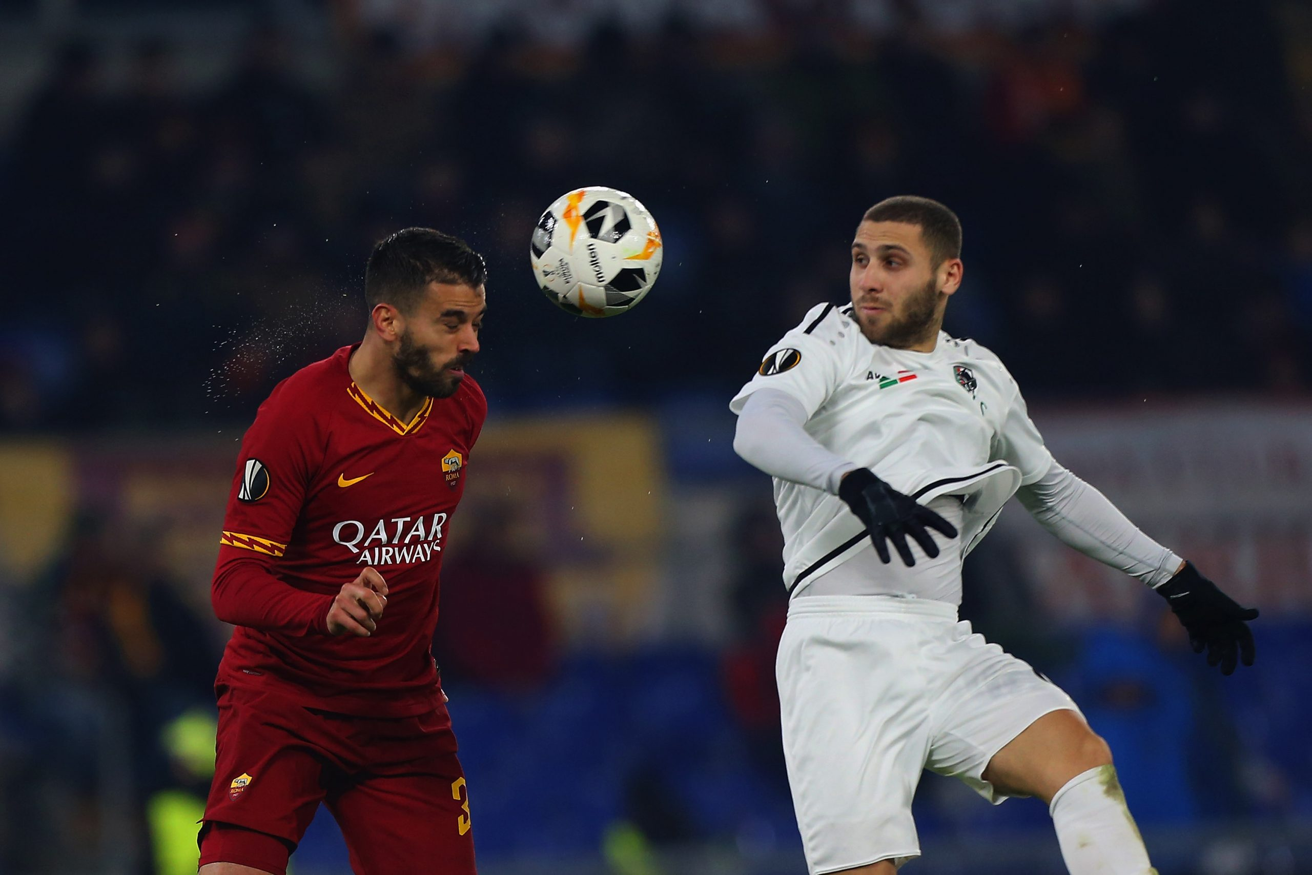 Shon Weissman (R) in action against AS Roma in the Europa League (Getty Images)