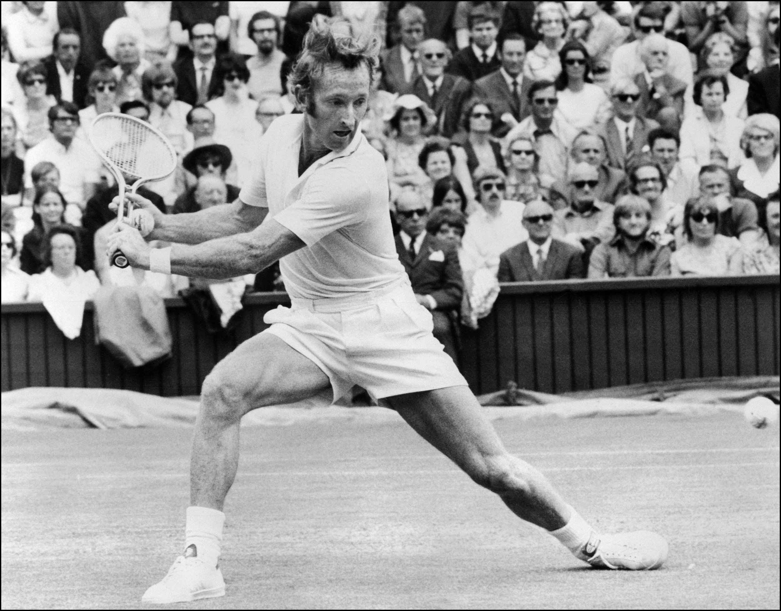 Australian tennis great Rod Laver in action during the 1971 Wimbledon Championships.