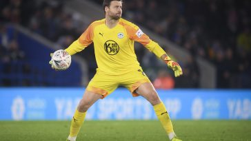 David Marshall of Wigan Athletic in action during the FA Cup third-round match against Leicester City at The ,King Power Stadium on January 04, 2020 in Leicester, England.