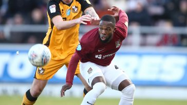 Young Leicester City right-back Mitch Clark playing for on-loan side Port Vale during the Sky Bet League Two match against Northampton Town back in February.