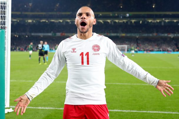 Martin Braithwaite celebrates after scoring a goal for Denmark (Getty Images)