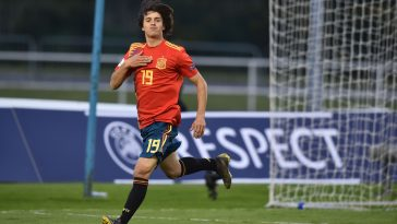 Pablo Moreno of Spain celebrates after scoring for their under-17 side last year.