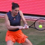 German Andrea Petkovic in action during an exhibition match held at Berlin recently. (