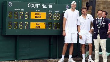 The iconic photo of John Isner and Nicolas Mahut posing in front of the scoreboard after recording the longest match to be played in Grand Slam tennis history during the 2010 Wimbledon.