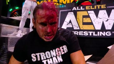 A bloodied Matt Hardy after Sammy Guevara attacked him