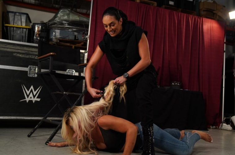 Sonya Deville attacked Mandy Rose and chopped off her hair