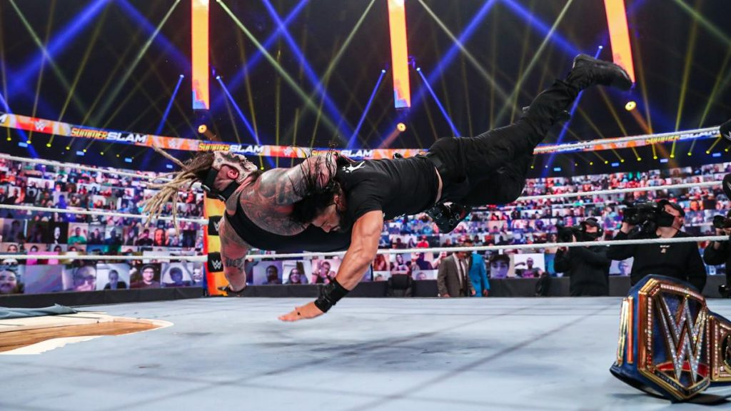 Roman Reigns spears the Fiend at SummerSlam
