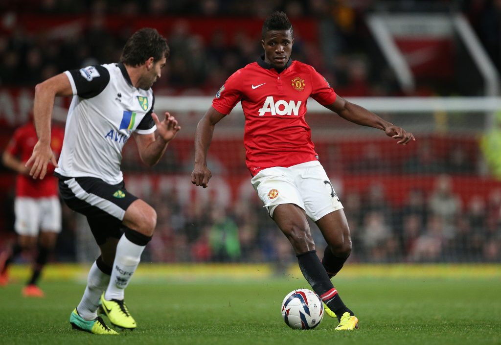 Wilfried Zaha playing for Manchester United back in 2013.
