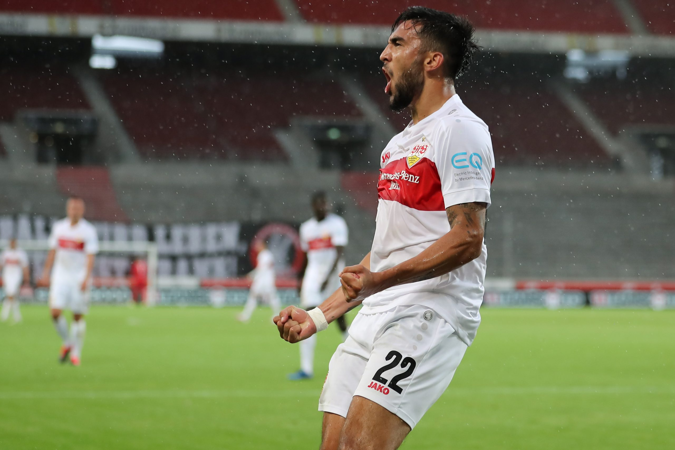 Nicolas Gonzalez of Stuttgart celebrates after scoring a goal for his side back in June.