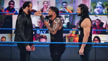 Jey Uso interrupted Roman Reigns and Drew McIntyre