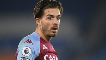LEICESTER, ENGLAND - OCTOBER 18: Jack Grealish of Villa in action during the Premier League match between Leicester City and Aston Villa at The King Power Stadium on October 18, 2020 in Leicester, England. Sporting stadiums around the UK remain under strict restrictions due to the Coronavirus Pandemic as Government social distancing laws prohibit fans inside venues resulting in games being played behind closed doors. (Photo by Michael Regan/Getty Images)
