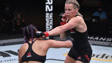 Katlyn Chookagian, Gillian Robertson and Valentina Shevchenko are tied with the most wins in the women's UFC Flyweight division