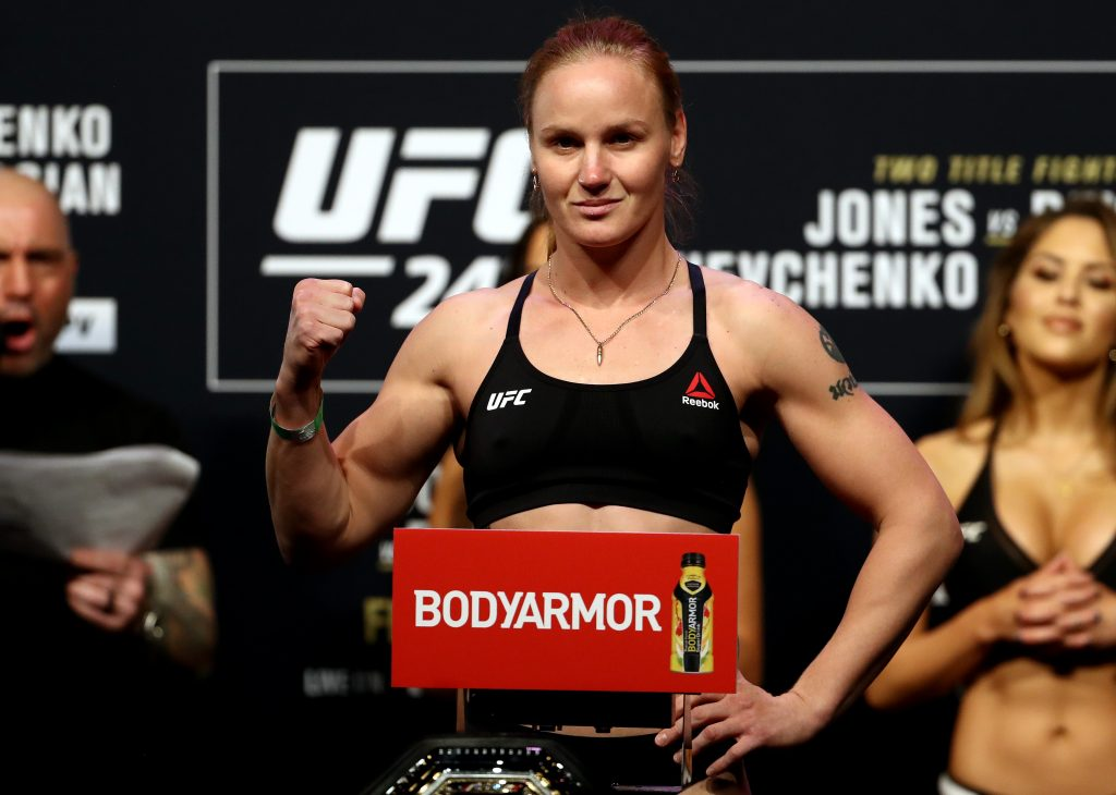 UFC flyweight fighter Valentina Shevchenko during the UFC 247 ceremonial weigh-in.