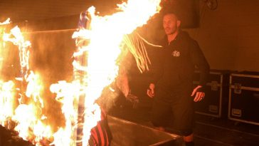Randy Orton set fire to The Fiend