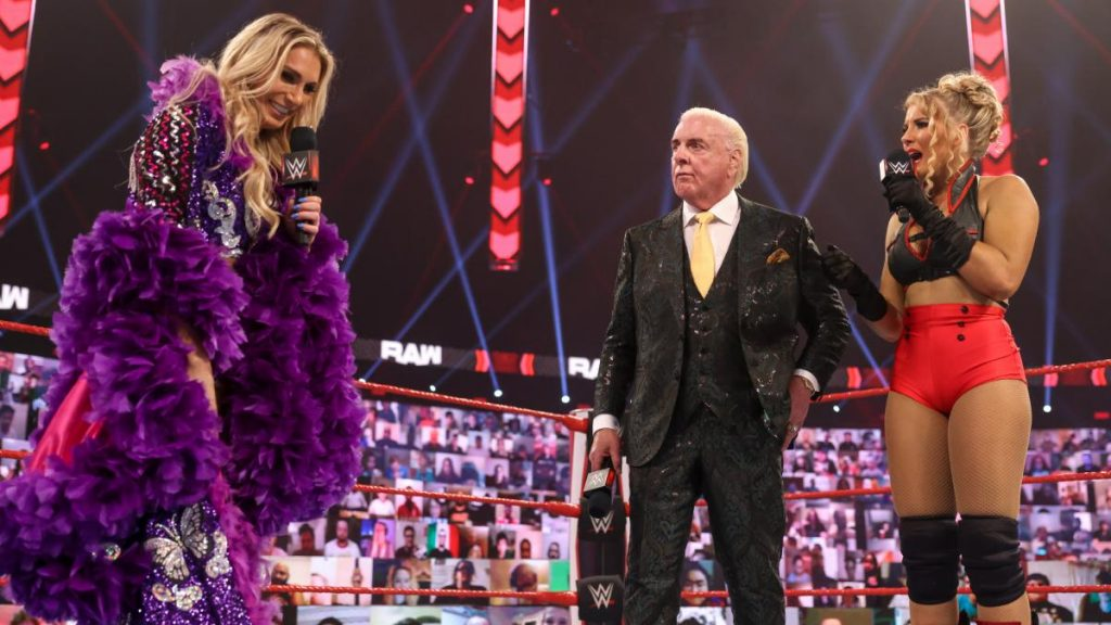 Lacey Evans, Ric Flair, and Charlotte on RAW. (WWE)