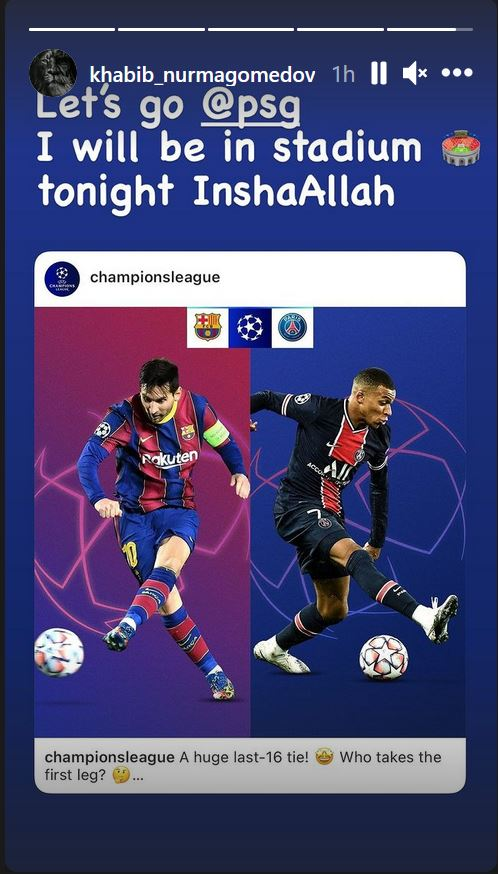 Khabib Nurmagomedov will be watching Barcelona vs PSG