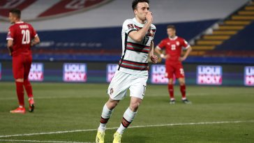 Diogo Jota celebrates after scoring for Portugal against Serbia.