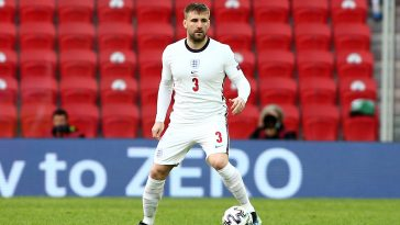 Luke Shaw in action for England against Albania.