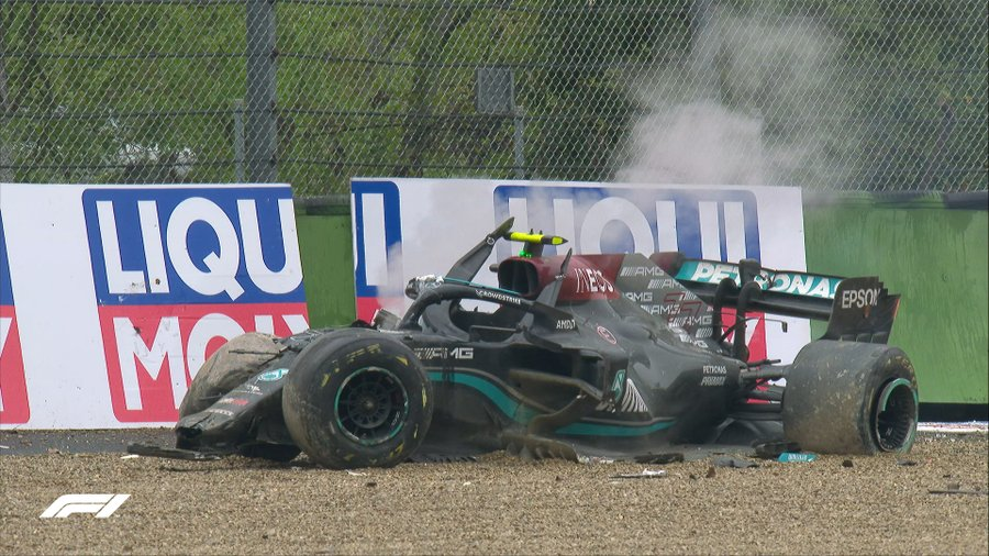 Valtteri Bottas after his huge crash