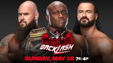 Braun Strowman faces Drew McIntyre and Bobby Lashley for the WWE championship at WrestleMania Backlash. (WWE)