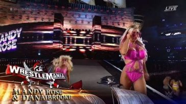 Mandy Rose slipped at WrestleMania 37 while coming out with Dana Brooke. (WWE)