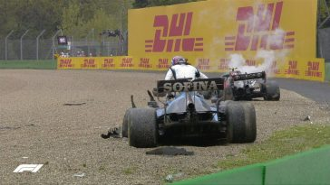George Russell and Valtteri Bottas had an enormous crash at the 2021 Imola GP