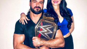 Drew McIntyre with his wife, Kaitlyn, and the WWE heavyweight championship.)