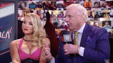 Ric Flair with Lacey Evans. (WWE)