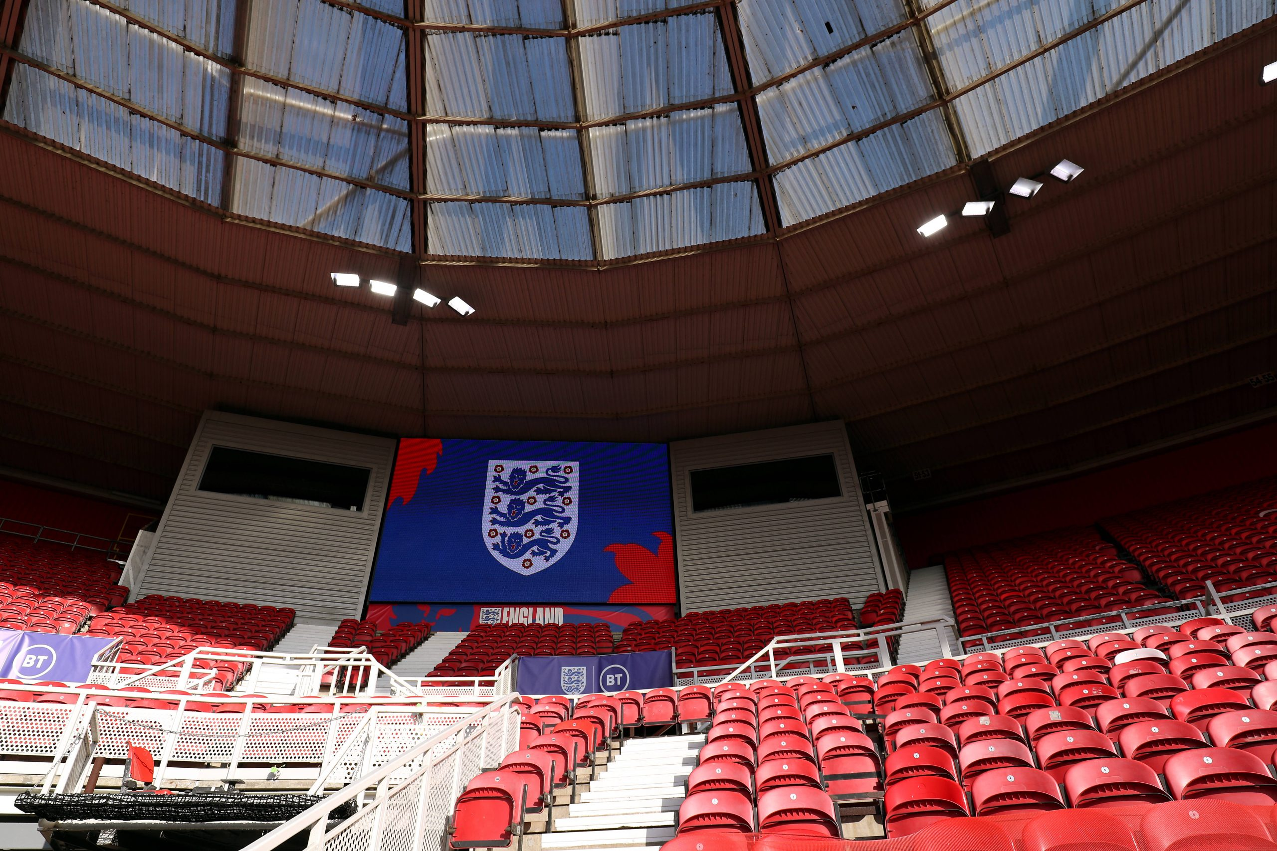 The Three Lions logo as seen during the England vs Austria friendly match. (imago Images)