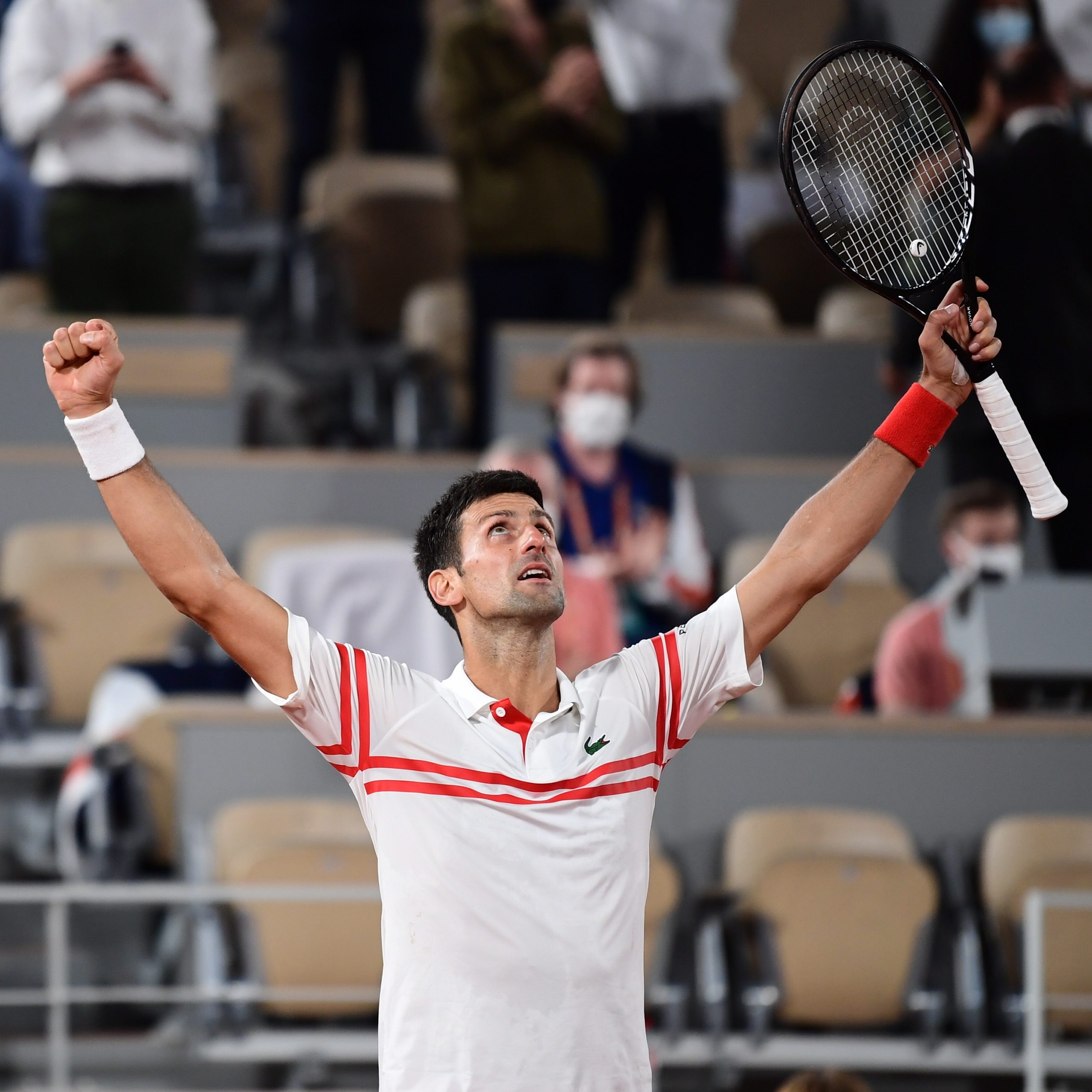 Novak Djokovic reacts after beating Rafael Nadal at the French Open 2021 (Credits: Roland Garros Twitter)
